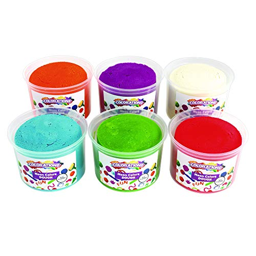 Colorations Neon Dough, 6 Pounds, 6 Neon Bright Colors, Non-Toxic, Resealable Tubs, Soft Pliable, Non-Crumble, Modeling, Moldable, Sensory, Smooth, for Home, School, Daycare, STEM