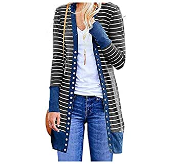 EnergyWDWomen Plus-Size Striped Mid-Length Long Sleeve Fashion Cardigan Sweater Blue L