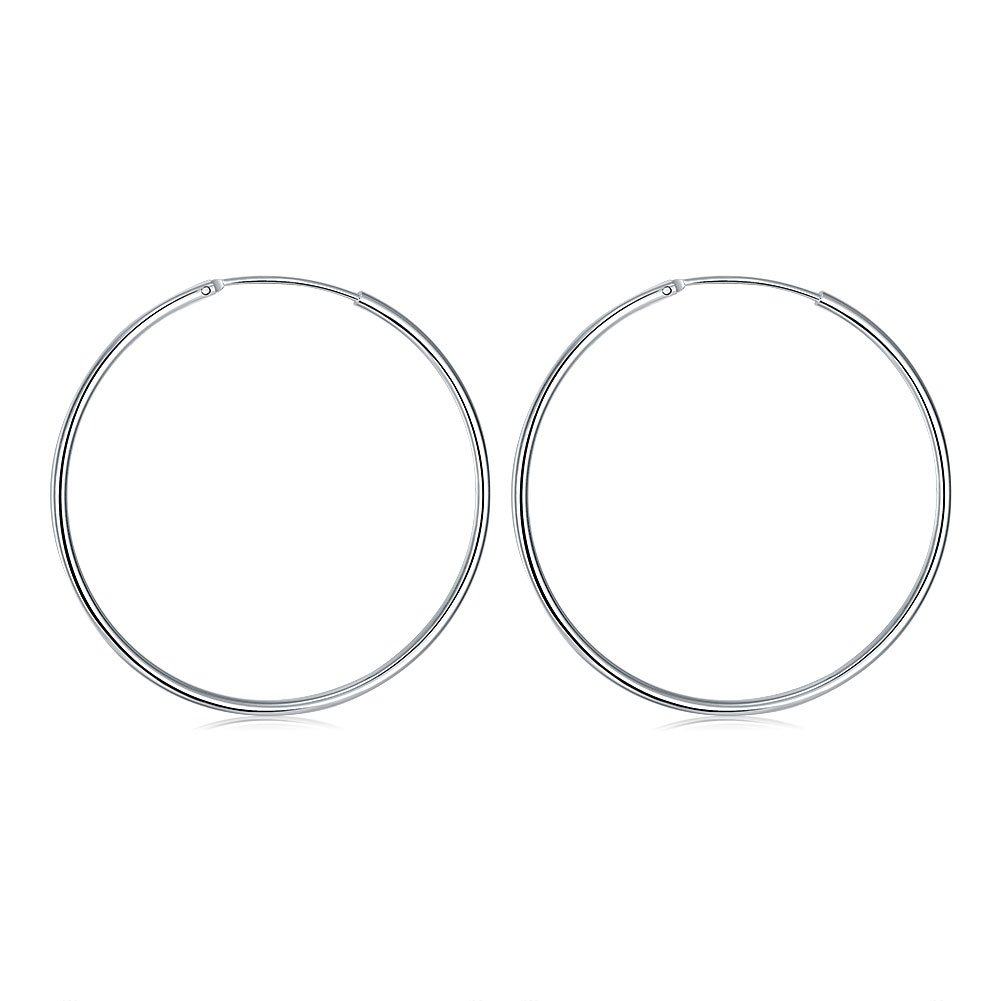 inalis Silver Plated Glossy Hoop Earrings for Women Girls Sensitive Ears Wedding Party Jewelry