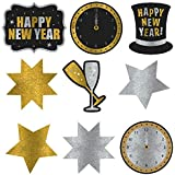 Amscan Rocking New Year's Party Assorted Glitter Paper Cutouts Decoration (Pack of 9), Multicolor