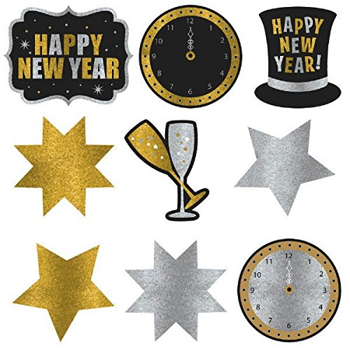 Amscan Rocking New Year's Party Assorted Glitter Paper Cutouts Decoration (Pack of 9), -