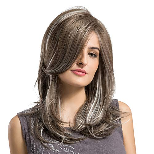 lightclub Lady Side Parting Wave Wavy Curly Mixed Color Brown Grey Silver Medium Length Long Full Wig with Side Swept Bangs Inclined Slanted Bangs Heat Resistant Cosplay Synthetic (Long Curly Hair With Side Swept Bangs)