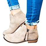 Ofenbuy Womens Ankle Boots Pointed Toe Faux Leather Stacked Low Heel Side Zipper Booties