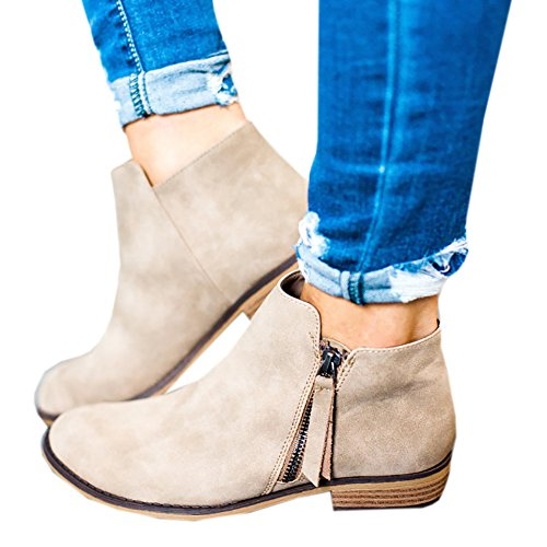 Fashare Womens Ankle Boots Side Zipper Fall Booties Low Heel Short Western Shooties Beige