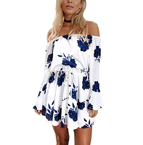 blue and white strapless dress - 4