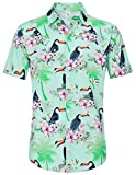 Men Button Down Shirts Vneck Collared 3D Floral Print Bird Animal Graphics Sun Beach Vacation Top Blouse Swim Pool Party Casual for Juniors Student Summer Short Sleeve Cool 90 80's Raglan Tee Shirt