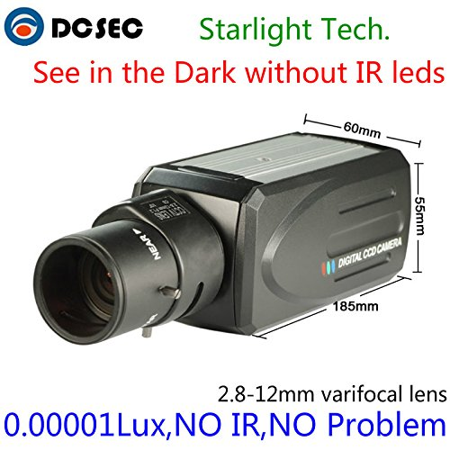 HD 700TVL 960H Low Light Night Vision Full Color Analog CCTV Box Camera Zoom Varifocal lens (Night Cctv Box)