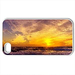 lintao diy beautiful sunset - Case Cover for iPhone 4 and 4s (Sunsets Series, Watercolor style, White)