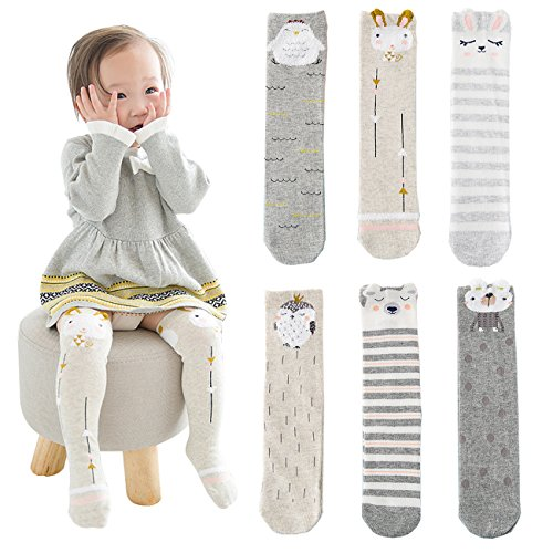 BQUBO Baby Girls Socks Knee High Cartoon Animal Warm Cotton Stockings Pack - Com Www Boots