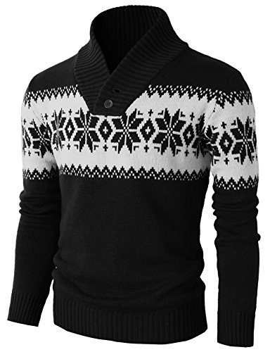 H2H Mens Casual Fitted Shawl Collar Pullover Sweater with Snowflake Pattern Black US 3XL/Asia 4XL ()