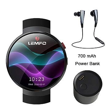 Reloj Inteligente LEMFO LTE 4G,Reloj Inteligente Teléfono Frecuencia Cardíaca 1 GB + 16 GB De Memoria con Camera Translation Tool Bluetooth,Android 7.0 ...