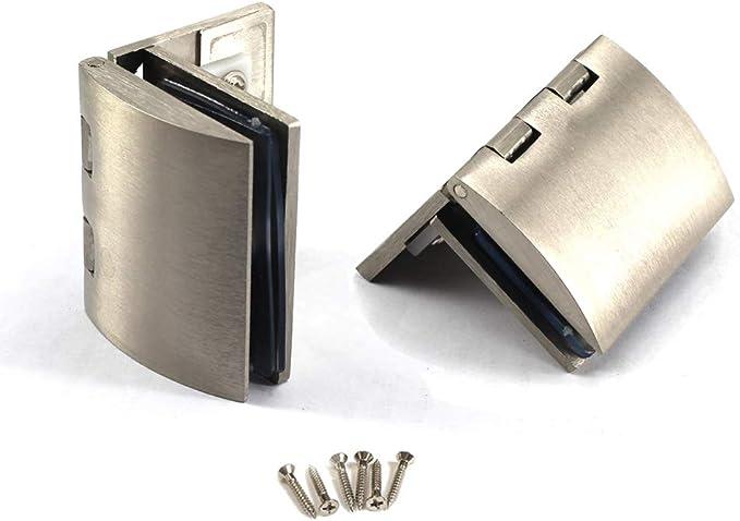 Kit de bisagras para puerta de cristal de aleación de zinc con bisagras de cristal y clip de sujeción para puerta: Amazon.es: Bricolaje y herramientas