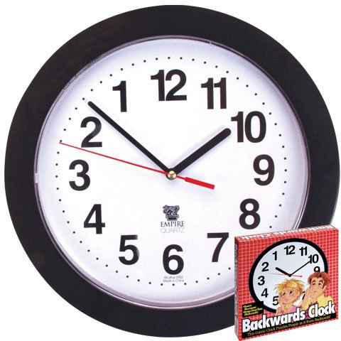 Black Backwards Wall Clock, Runs Counterclockwise and Reverse