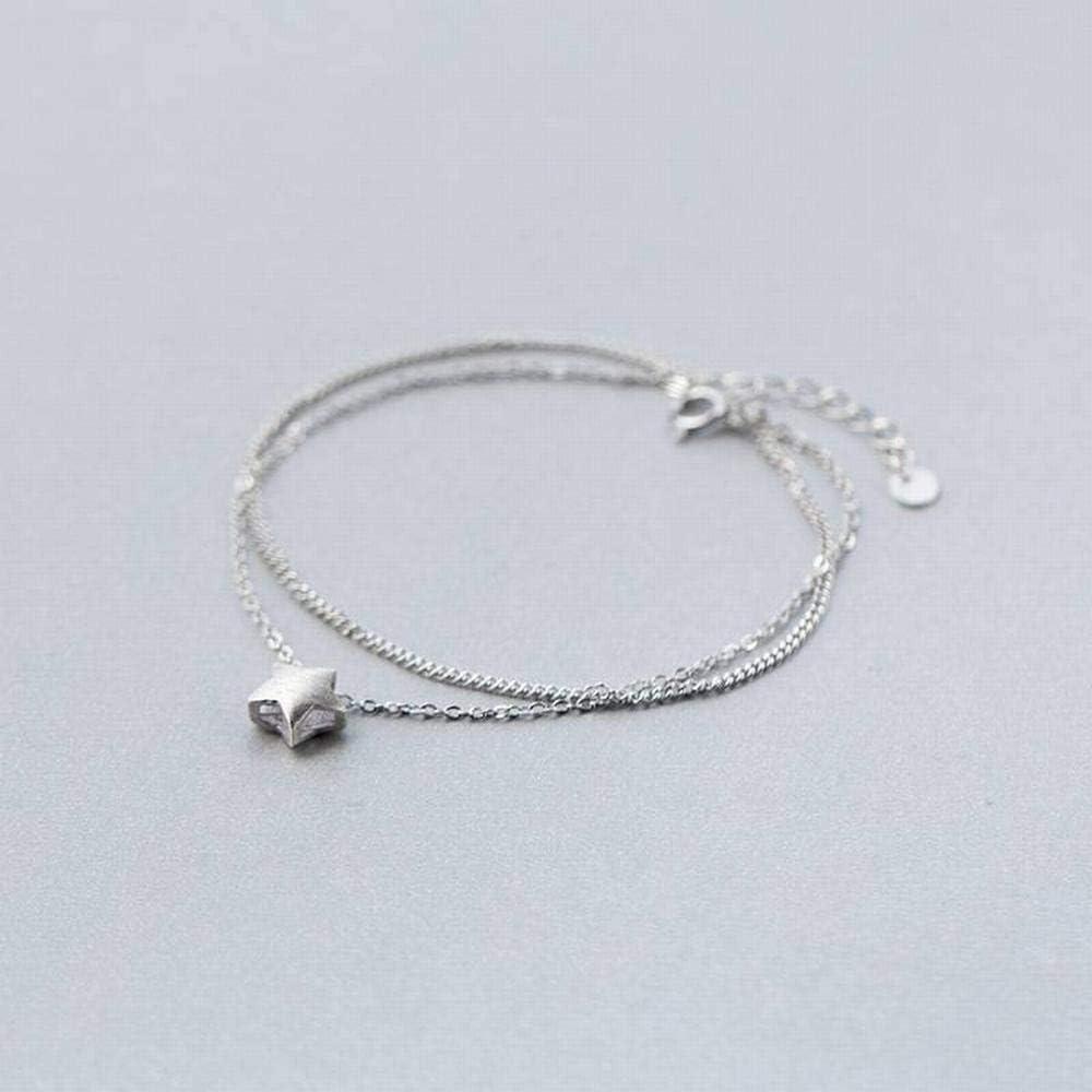 LOt Bangles Bracelets S925 Silver Bracelet Female Simple Double-Layer Brushed Five-Pointed Star Bracelet Simple Bracelet