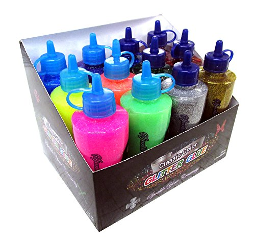 12 Color Glitter Glue Set INCLUDES 6 Classic Colors + 6 Neon Colors! (4oz - 120 ml Bottles) -