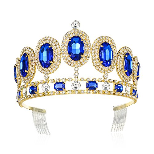 DcZeRong Crystal Tiara Rhinestone Crown Gold Princess Queen Birthday Prom Pageant Diamond Tiaras