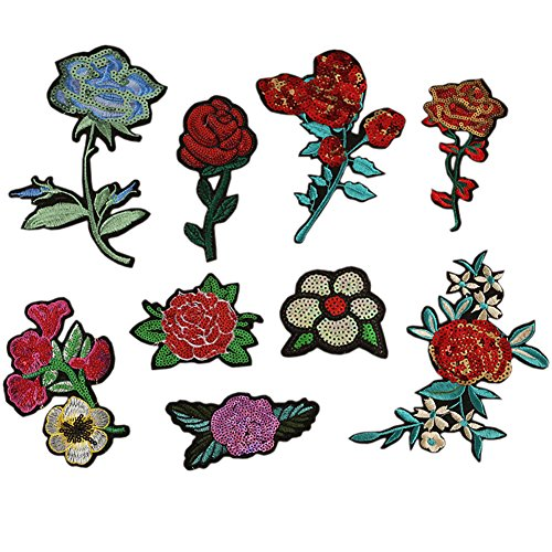 (Hwafan Mix 10PCS Large Sequins Rose Peony Flower Decal Fabric Iron On Patches Embroidered Motif Badge DIY Decoration Applique for Jeans Clothes)