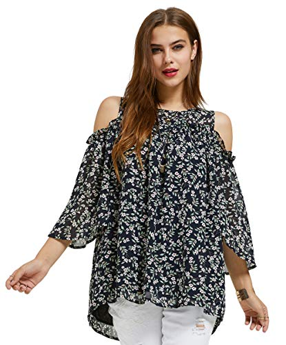 SONJA BETRO Women's Printed Floral Chiffon Cold Shoulder Ruffle Trim Elbow Length Bell Sleeve Tunic Top/Black/Tag Size 2X=XXX-Large