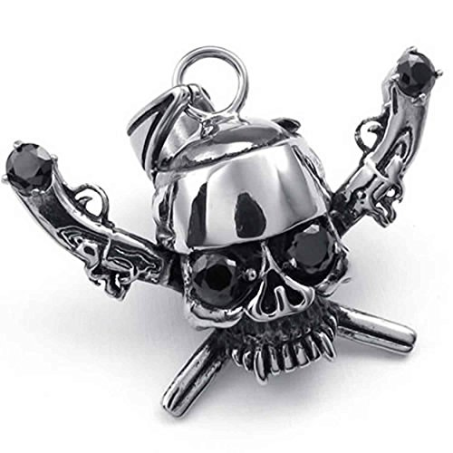 (ANAZOZ Stainless Steel Silver Mens Gun Pirate Skull CZ Pendant Necklace 18-26