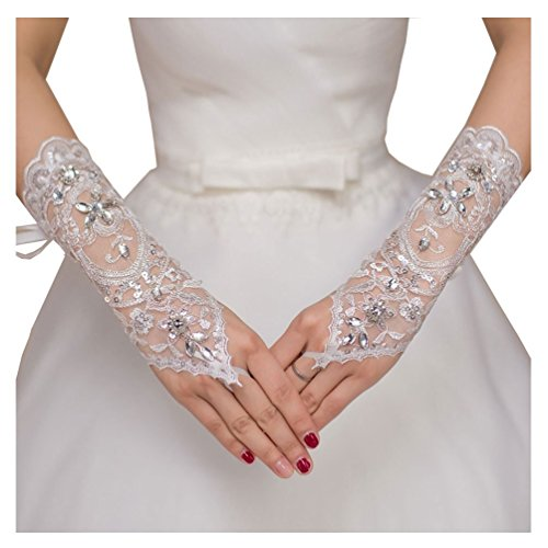 WoodBurry Wedding Gloves Womens Lace Embroidered Beaded Fingerless Bridal Ivory