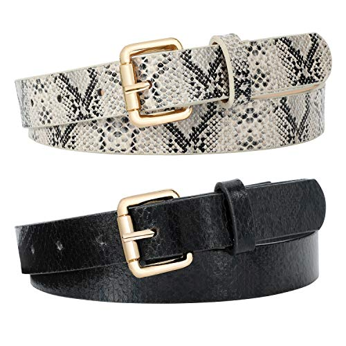 2 Pack Women Snakeskin Print PU Leather Belt for Pants Dress with Gold Color Pin Buckle By JASGOOD 0.9 Inch Wide Black + Grey