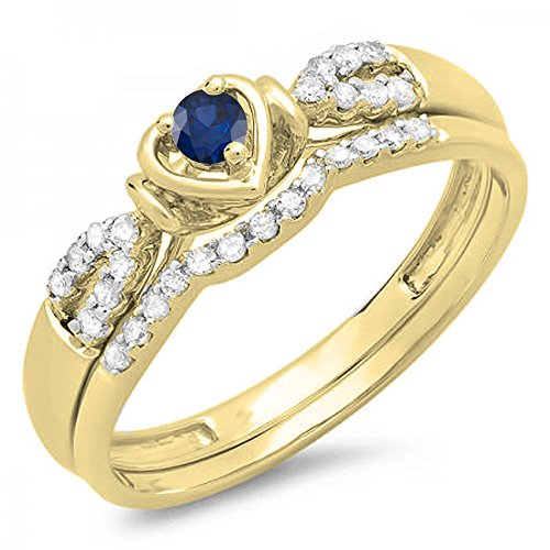 Dazzlingrock Collection 18k Yellow Gold Round Blue Sapphire & White Diamond Heart Shaped Engagement Ring Set 1/4 CT (Size 8.5) ()