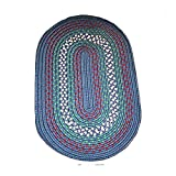 Oval Area Rug 6' X 4' Blue Nylon For Kitchen Colonial Style