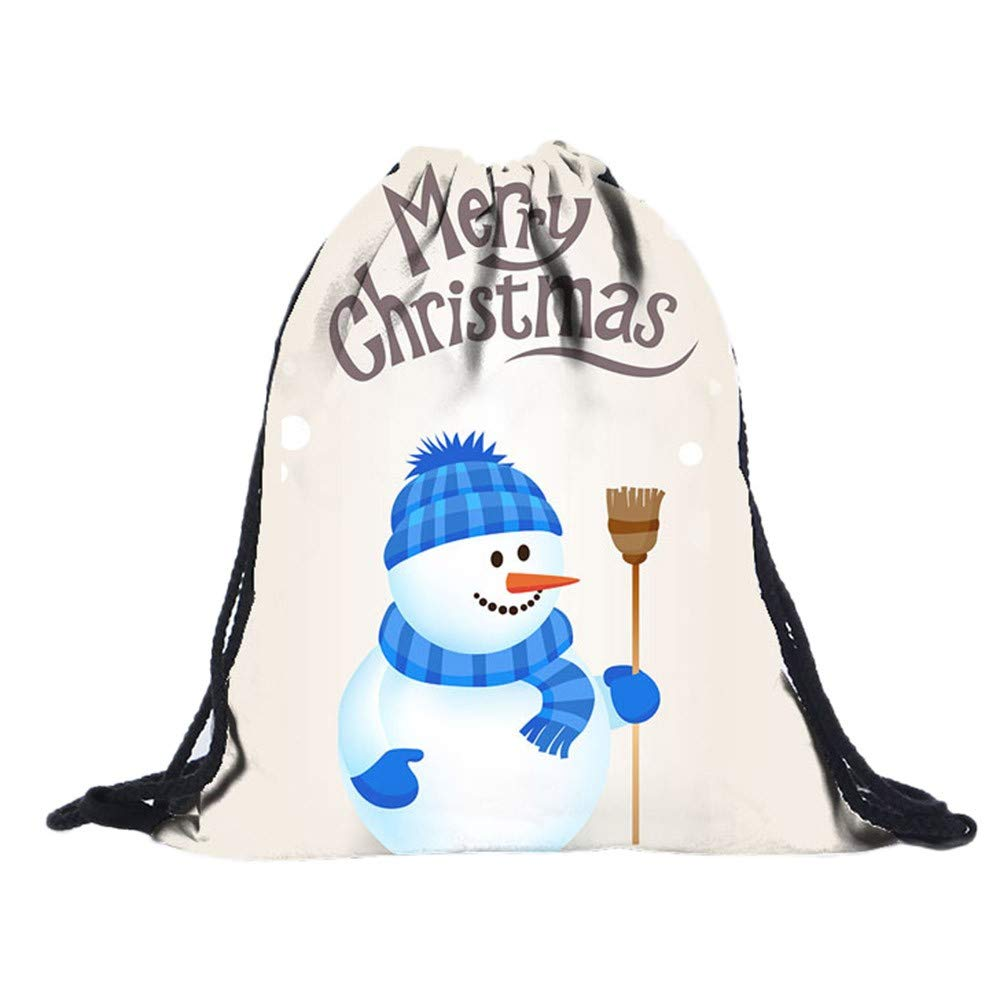 Christmas Cute 3D Digital Print Bouquet Drawstring Bags Pocket Backpack,Outsta Children Party Drawstring Bag Sports Storage Bag Gift Simple Hanging Sack (G)