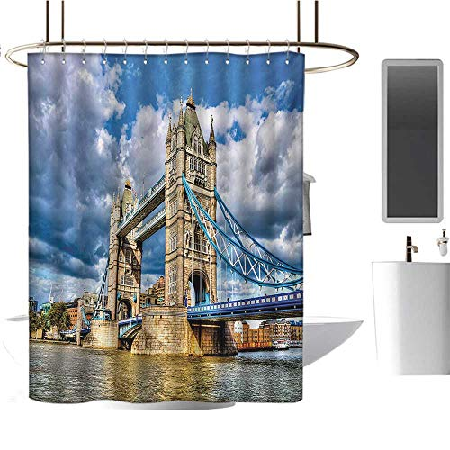 Stevenhome London Shower Curtains Digital Printing Historical Tower Bridge on River London UK British Day Time International Heritage Fabric Bathroom Decor Set with Hooks Multicolor (Time Difference Between The Uk And New York)