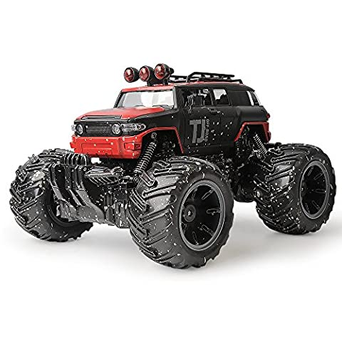 Gizmovine Mud Monster Pickup Remote Control RC Truck 1:16 Scale Rechargeable w/ Mud Splatter Paint Job - Red Monster Truck