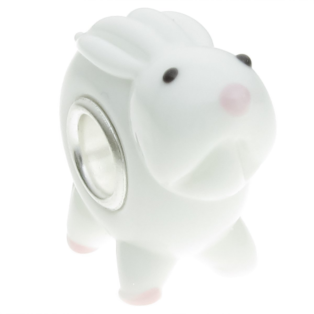 Sterling Silver White Bunny European Style Glass Bead Charm