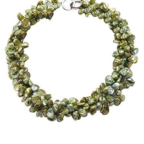 JYX Pearl Necklace Four-Strand 7x11mm Yellow-Green Baroque Freshwater Pearl and 9x12mm Crystal Beads Necklace 18
