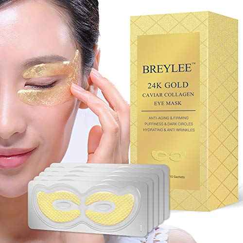 Under Eye Masks 24K Gold Eye Pads for Dark Circles Eye Bags Puffiness Eye Treatment Natural Under Eye Patches with Anti-aging Wrinkle Care Properties, Eye Care Mask Gift for Women & Men (10 pairs)