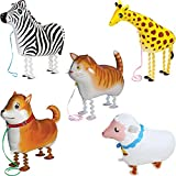 5pcs Kids Animals Balloons Party Favors for Kids Gifts Toys Walking Pet Party Decoration group--E