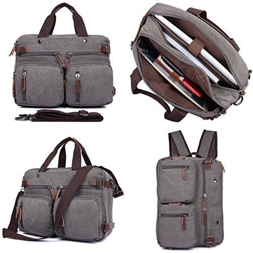 Clean Vintage Laptop Backpack Messenger Bag-Hybrid Briefcase Backpack Vintage BookBag