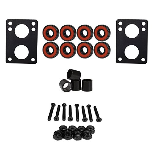 Amphetamine Abec 5 Bearings with Longboard 1/4 Ruber Riser Pads, Spacers and 1.25 Hardware ()