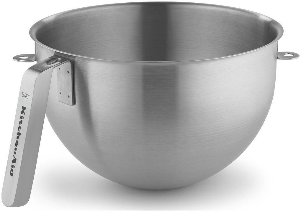 KitchenAid KSMC5QBOWL 5 Quart NSF Certified Polished Stainless Steel Bowl with J Hook Handle, Stainless Steel by KITCHENAID 163-1030