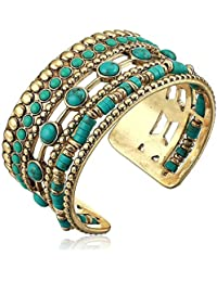 Women's Turquoise Statement Cuff Bracelet, Gold, One Size