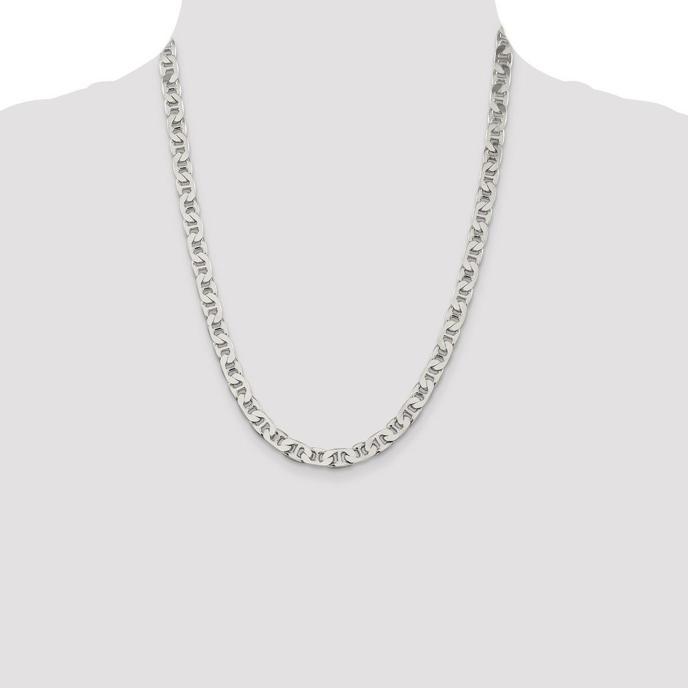 925 Sterling Silver Flat Anchor Chain Necklace