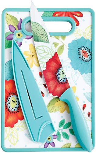 Gibson 3-pc. 8'' Chef Knife & Cutting Board Set One Size Turquoise blue multi