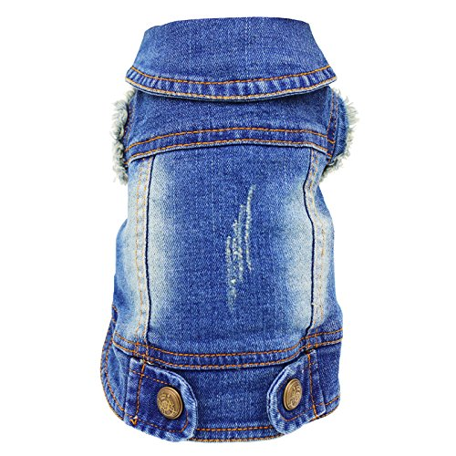 SILD Pet Clothes Dog Jeans Jacket Cool Blue Denim Coat Small Medium Dogs Lapel Vests Classic Hoodies Puppy Blue Vintage Washed Clothes (Denim Small Jacket)