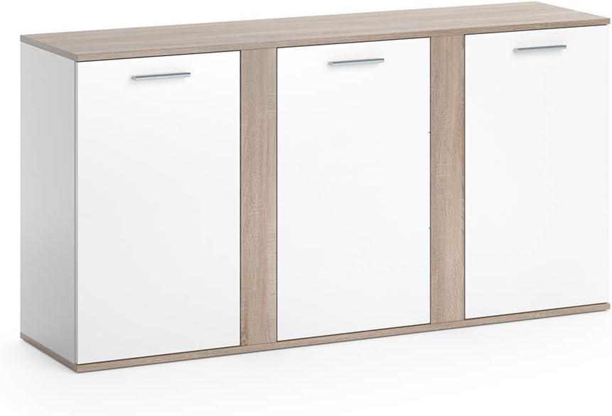 Vicco Sideboard NOVELLI Highboard weiß Kommode Anrichte Schrank 3 Türen (Weiß Sonoma Eiche)