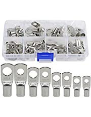 PONFY 60PCS Heavy Duty Tinned Copper Wire Lugs Battery Cable Ends Eyelets SC Ring Terminal Connectors Kit 8 Sizes