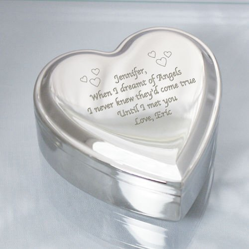 Center Gifts Personalized Nickel Heart Jewelry Box with Custom Special Message Engraved