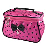 Women Heart Print Bowknot Decor Zipper Travel Cosmetic Bag Purse Fuchsia