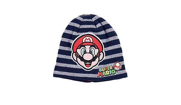 Nintendo Super Mario Bros Chicos Gorro de Lana - Azul Marino: Amazon.es: Ropa y accesorios