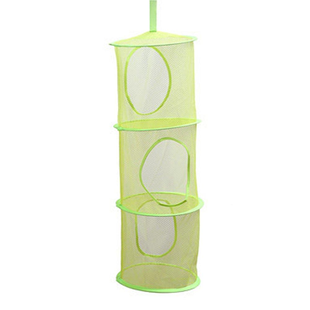 Blue Tulas 3 Shelf Cylindrical Hanging Storage Net Bedroom Wall Door Closet Kids Toy Organizer Bag Home Baskets