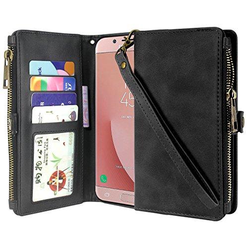 Galaxy J7 2018 Case, J7 Aero, J7 Top, J7 Crown, J7 Aura, J7 Refine, J7 Eon Case, Premium Leather Flip Zipper Wallet Case Cover Stand Feature with Card Holder - Zipper Black