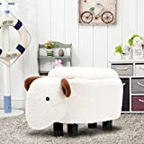 Guteen Upholstered Ride-on Toy Seat Storage Ottoman Footrest Stool with Vivid Adorable Animal-Like Features(Beige sheep)