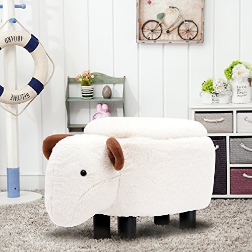 Guteen Upholstered Ride-on Toy Seat Storage Ottoman Footrest Stool with Vivid Adorable Animal-Like Features(Beige sheep) by GUTEEN